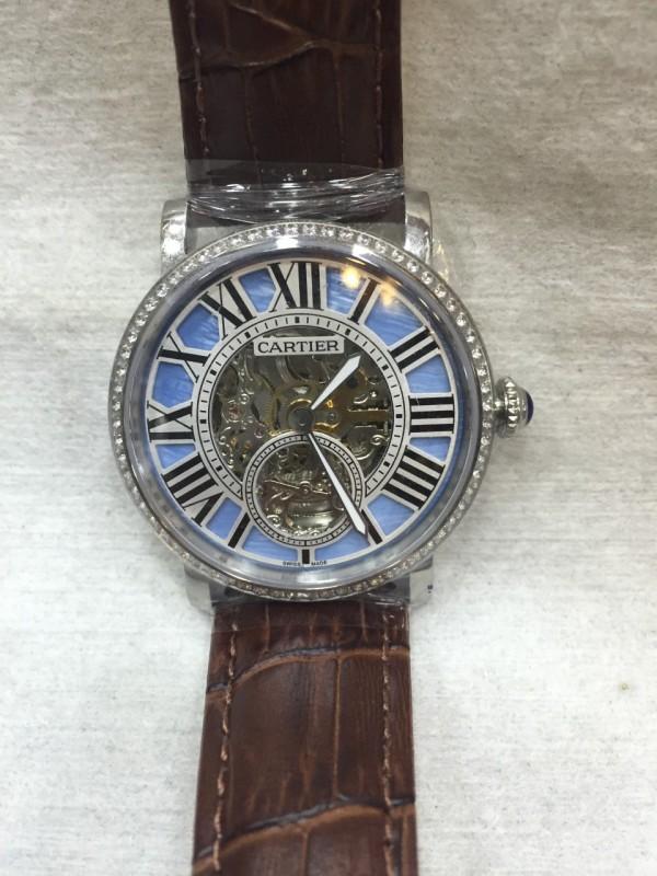Réplica de relógio Cartier Esqueleto Couro com Pedra  CECCP-002