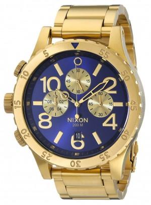 Réplica de relógio Réplica de Relógio Nixon 48-20 Chrono Dourado Azul Sunray