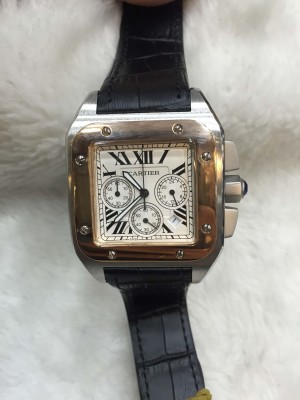 Réplica de relógio Cartier Santos 100 Couro Com Crono CPBFCC-006