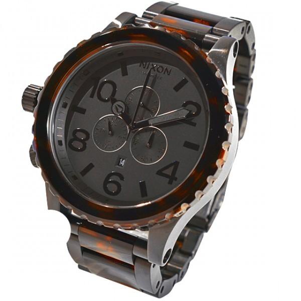 Réplica de relógio Réplica de Relógio Nixon 51-30 Chrono Matte Black Tortoise