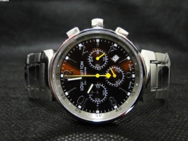 4fffa54aa6a Réplica de relógio REPLICA DE RELOGIO LOUIS VUITTON AÇO FUNDO MARRON -  LVT04 ...