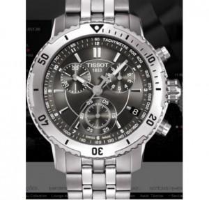 Réplica de relógio  TISSOT CHRONOGRAPH ETA SWISS AÇO FUNDO PRETO ( TI002)