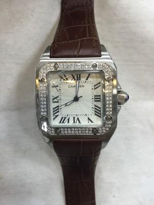 Réplica de relógio Cartier Santos Couro C-Pedra (QUAD) CCCP-003