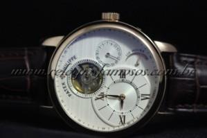 Réplica de relógio PATEK PHILIPPE GENEVE 110 HOURS COM MOSTRADOR DE CARGA DE TAMBOR