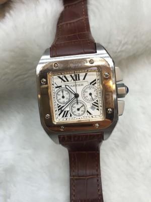 Réplica de relógio Cartier Santos 100 Couro Com Crono  CPBFCC-004