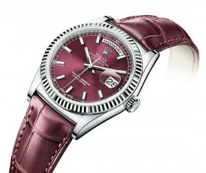 Réplica de relógio Réplica de Relógio Rolex Day Date White Gold Cherry